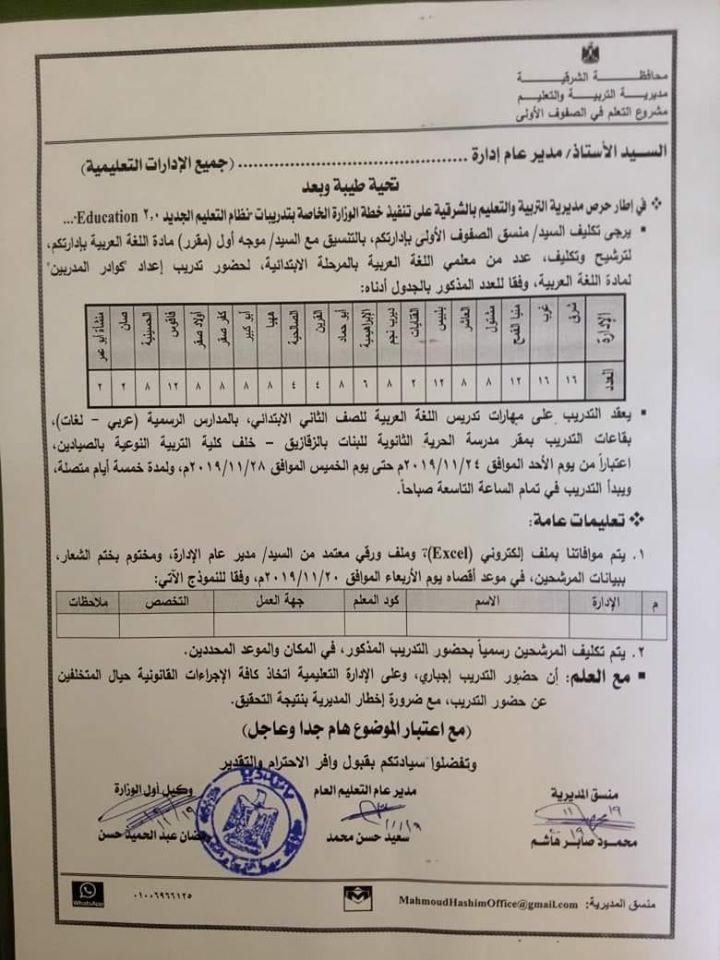 الإعلان عن بدء تدريبات جديدة لمعلمى اللغة العربية بالمرحلة الإبتدائية بشكل عام و المنظومة الجديدة بشكل خاص من 24 نوفمبر2019 74696610