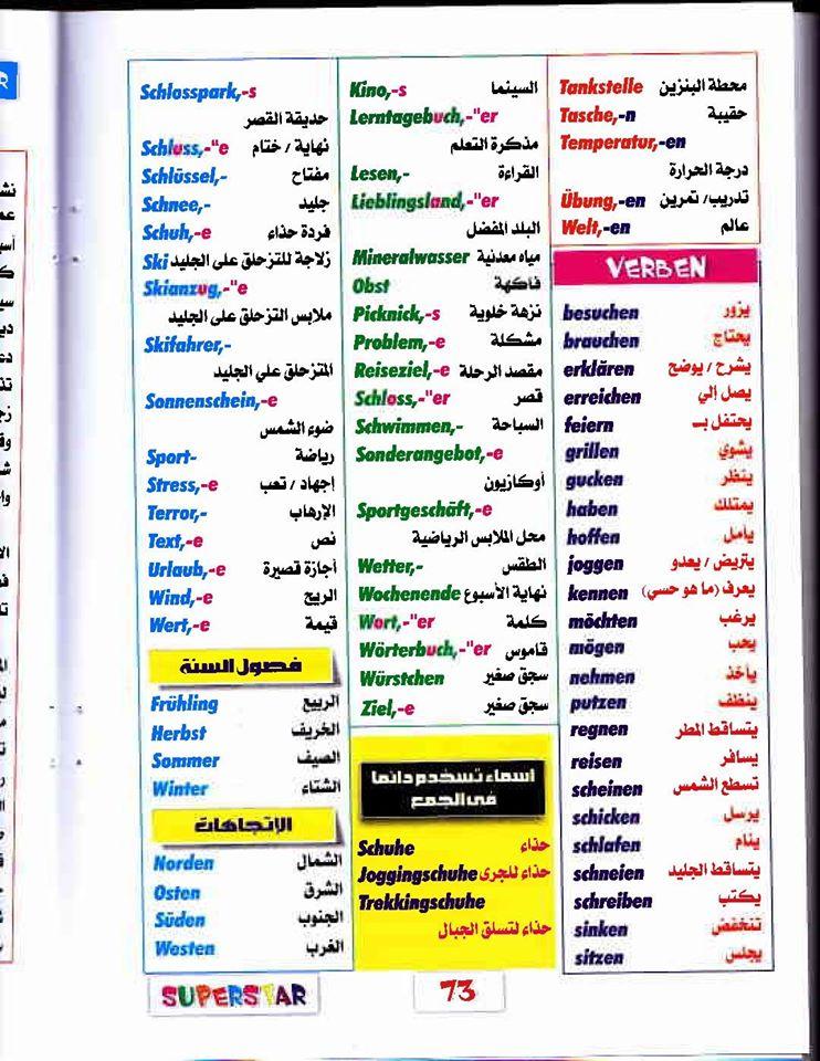 أهم كلمات اللغة الألمانية للصف الثانى الثانوى أربع ورقات 75264912