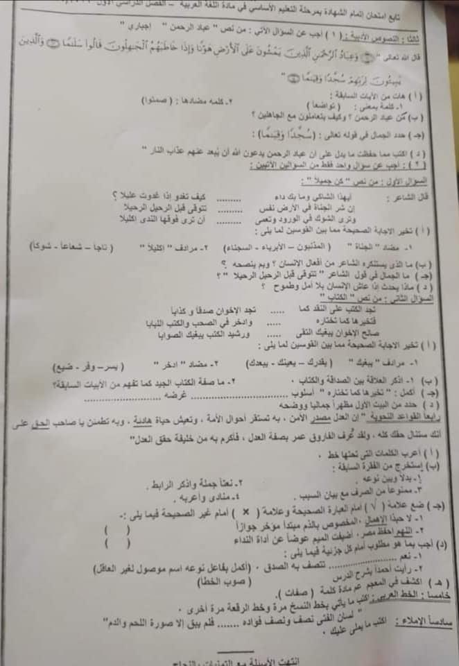 امتحان اللغة العربية للشهادة الإعدادية للاقصر ترم أول 2020 82259710