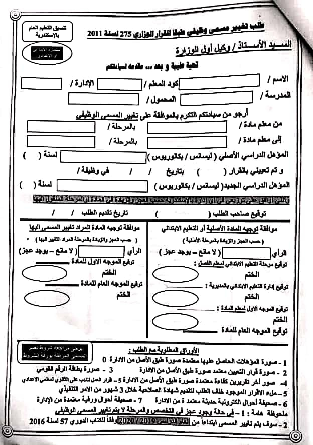 ننشر أوراق تغيير المسمى الوظيفي بمحافظة الاسكندرية 83212410