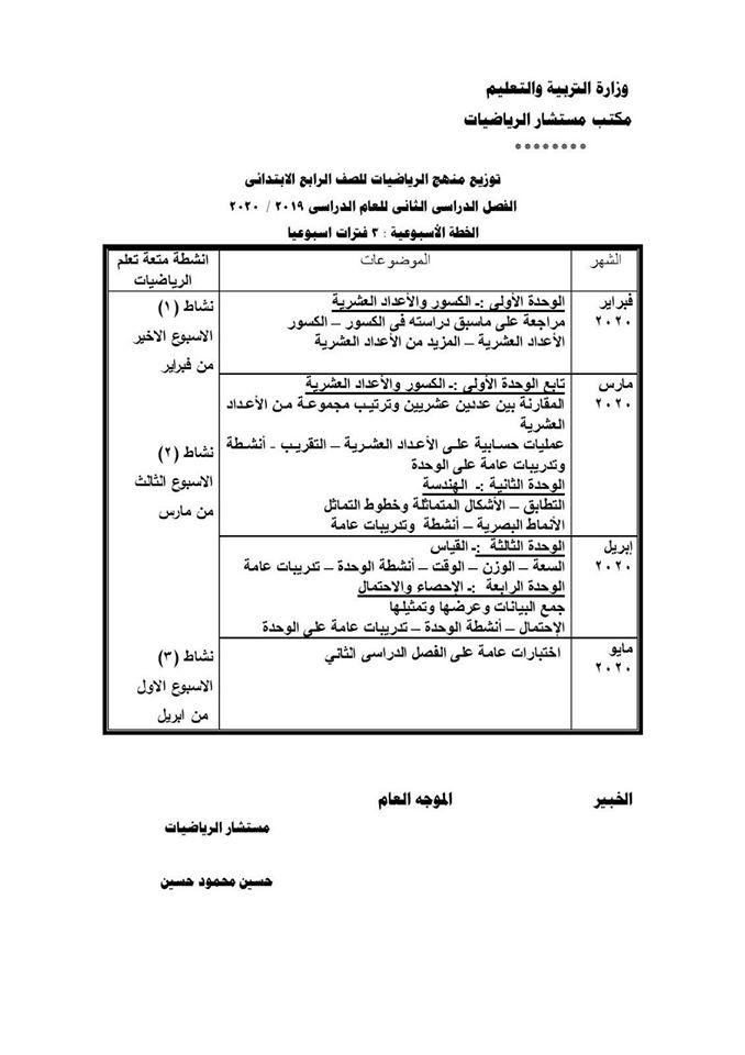 """ملفات بى دى إف توزيع مناهج الرياضيات للفصل الدراسى الثانى 2020 """"ابتدائى - إعدادى - و ثانوى"""" عربى ولغات 84955210"""