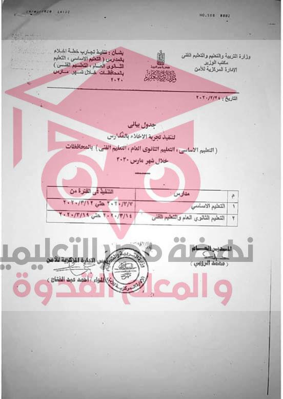 التعليم - على جميع مدارس الجمهورية عمل خطة إخلاء فى مارس 2020 وتصويرها و تسليمها CD  88197211