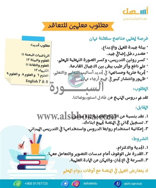 سلطنة عمان تعلن عن وظائف جديدة للمعلمين والمعلمات.. ننشر نص الإعلان 88710
