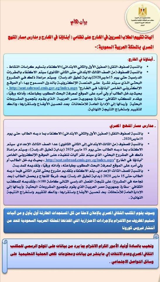 آليات تقييم الطلاب المصرين المقيمين في الخارج بالتوفيق ان شاء الله يا رب للجميع مع تحياتي لكم مستر حامد 92100210