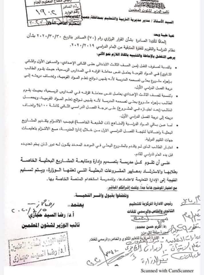 النشرة الرسمية للقرار الوزارى المواد التى لا تضاف للمجموع لا يتم عمل أبحاث فيها و تقيم بواسطة معلم المادة 92559710