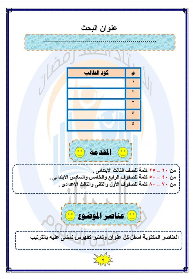 مخلص كتابة بحث نموذجى هدية للطلاب كل الفرق للحصول على العلامة الكاملة 92670810