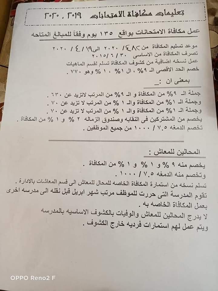 """دكتور شوقى  - يحذر من تراخى الإدارات التعليمية """" فى  تنفيذ الأوامر المباشرة """" الخاصة بتحرير مكافأة الإمتحان و صرفها للمعلمين قبل الأول من مايو  93418510"""