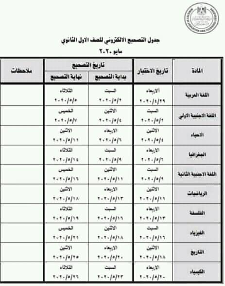 للمعلمين والطلاب جداول تصحيح الصفين الأول والثانوى الثانوى مايو2020 95608910