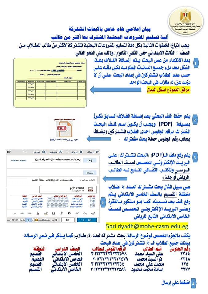 كيفية تسليم الأبحاث المشتركة (البحث الذى اشترك به أكثر من طالب) 96239010