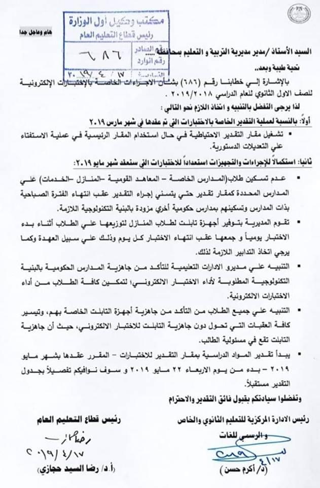 أخر تعليمات من الوزارة لمديرى المدارس و المصححين بخصوص الطلاب المنتظمين  الأول الثانوى عام وخاص و منازل Aa_a_o10