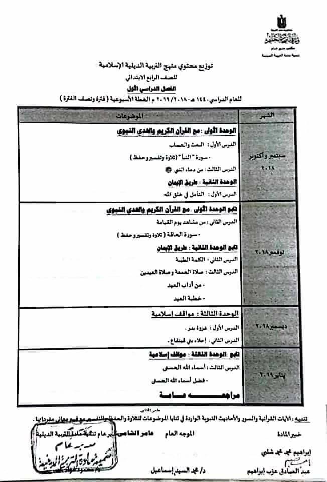 توزيع منهج التربية الإسلامية للصف الرابع الإبتدائى ترمين2019 O_oa_e11