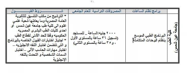 مصروفات برامج  كليات جامعة عين شمس للعام الدراسى 2019-2020 Oa_a810