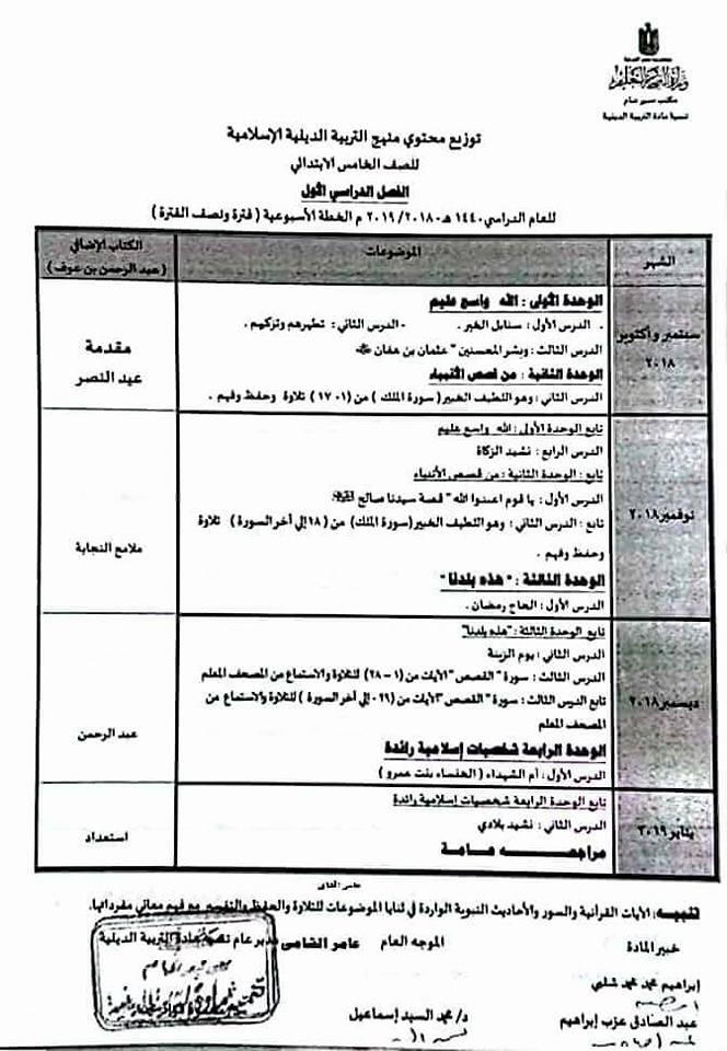 توزيع منهج التربية الإسلامية للصف الخامس الإبتدائى ترمين2019 Ya_oa_11