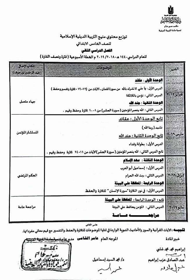 توزيع منهج التربية الإسلامية للصف الخامس الإبتدائى ترمين2019 Ya_oa_12