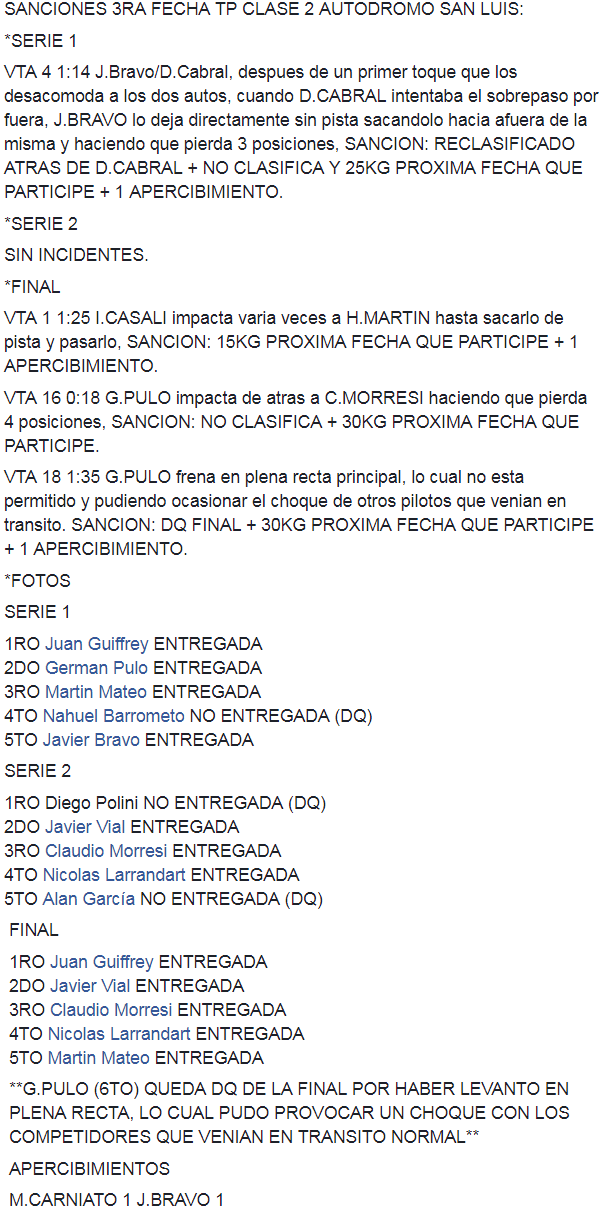 Resultados 3°Fecha ''San Luis'' 2222210