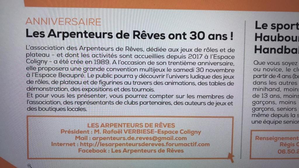 Convention des 30 ans des Arpenteurs de Rêves - Samedi 30 novembre 2019 71023910