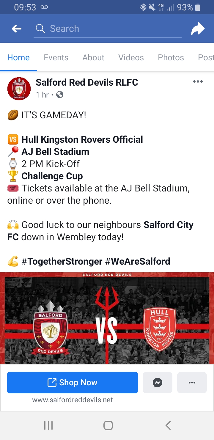 Salford red devils v Hull - u16s go free - 14:00 kick off Screen11