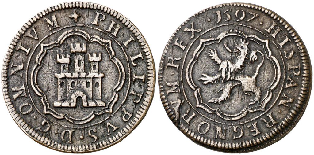 4 maravedís de Felipe II fechados en 1597, repros. Autzon10