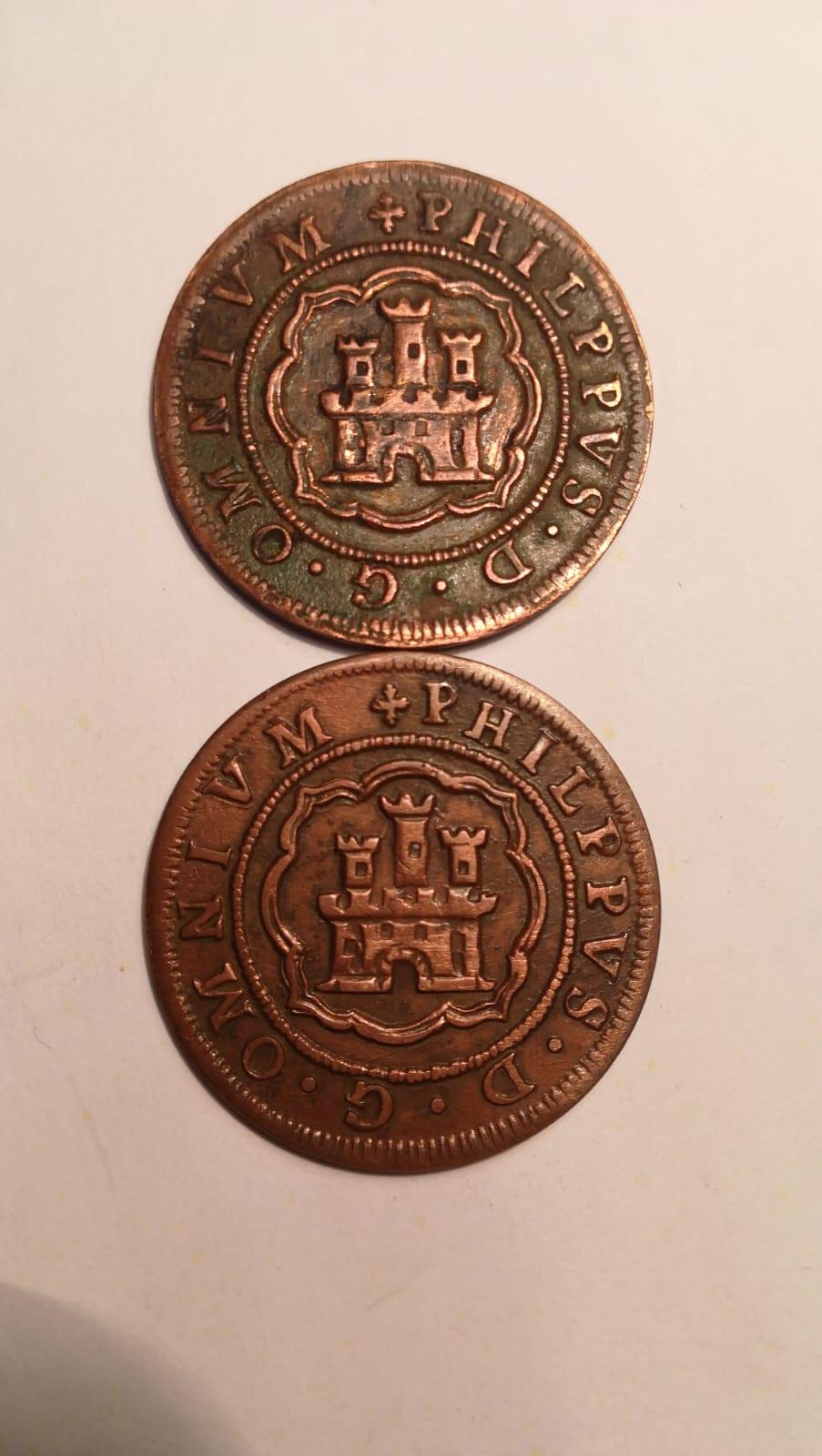 4 maravedís de Felipe II fechados en 1597, repros. Whatsa10