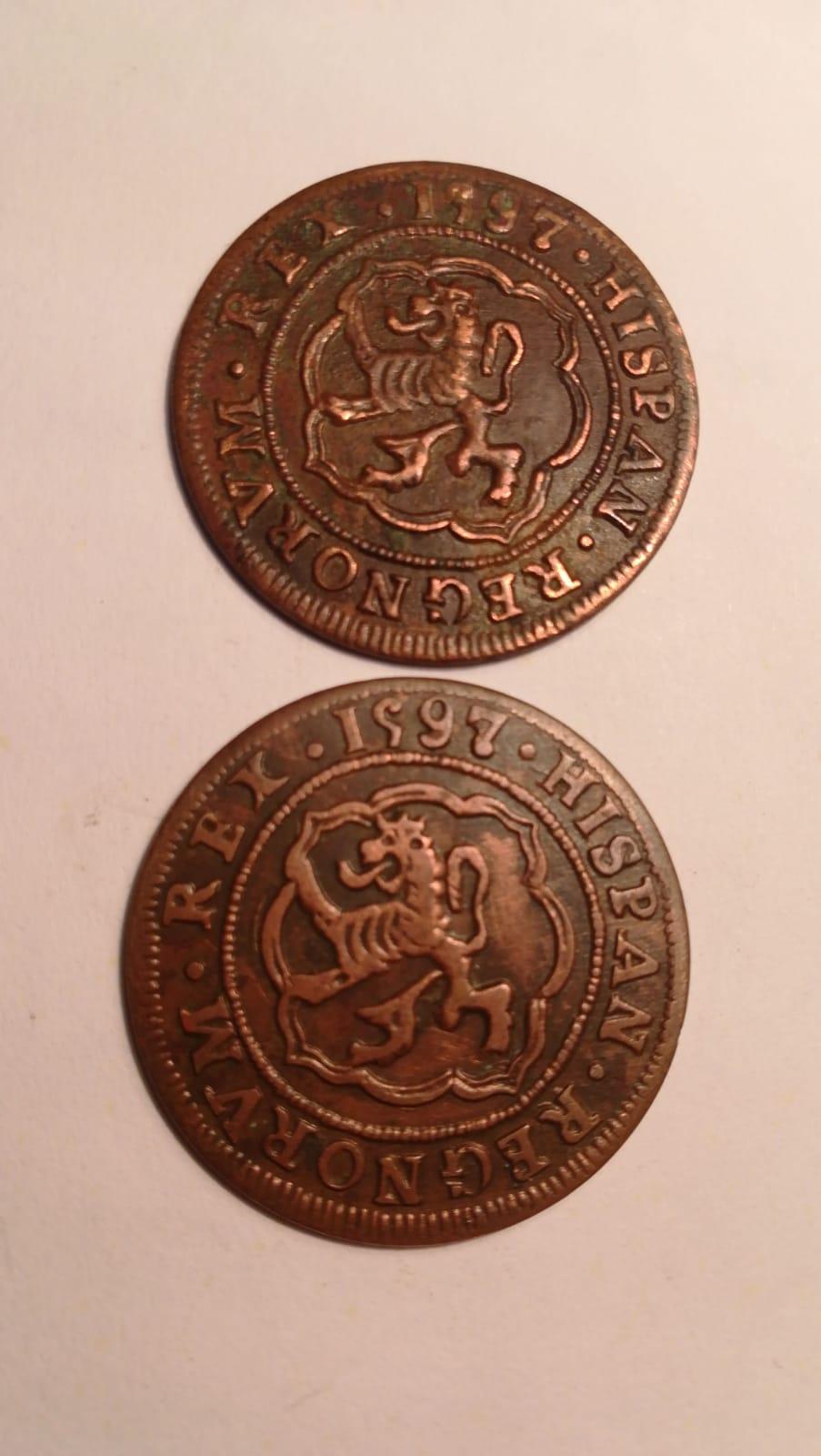 4 maravedís de Felipe II fechados en 1597, repros. Whatsa11