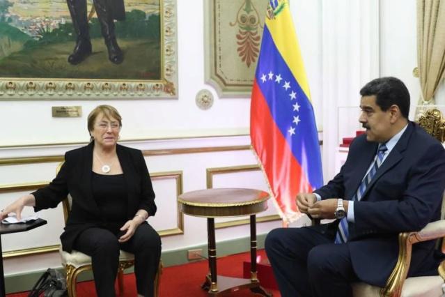 Michelle Bachelet y el Presidente Nicolás Maduro
