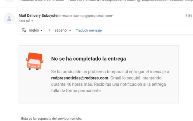 No están llegando los correos a Webmail 2019-127