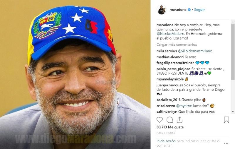 """El respaldo de Maradona al Presidente Nicolás Maduro: """"Hoy más que nunca, con Maduro"""" 5c492010"""