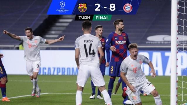 El Bayern de Múnich aplastó 8 a 2 al F.C. Barcelona