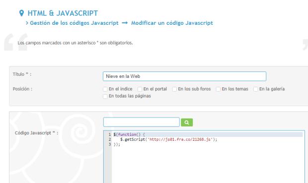No se puede desactivar un javascripts en la sección Javascripts Captur21