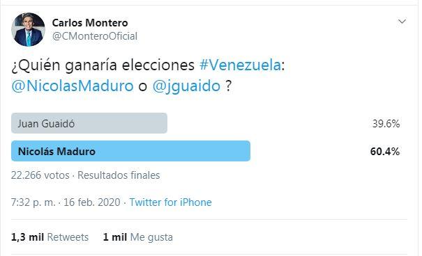 Periodista Carlos Montero realizó encuesta sobre popularidad electoral en Venezuela: Maduro supera ampliamente a Guaidó Captur61