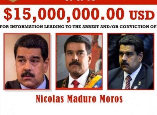 EEUU ofrece recompesa por captura del Presidente Maduro