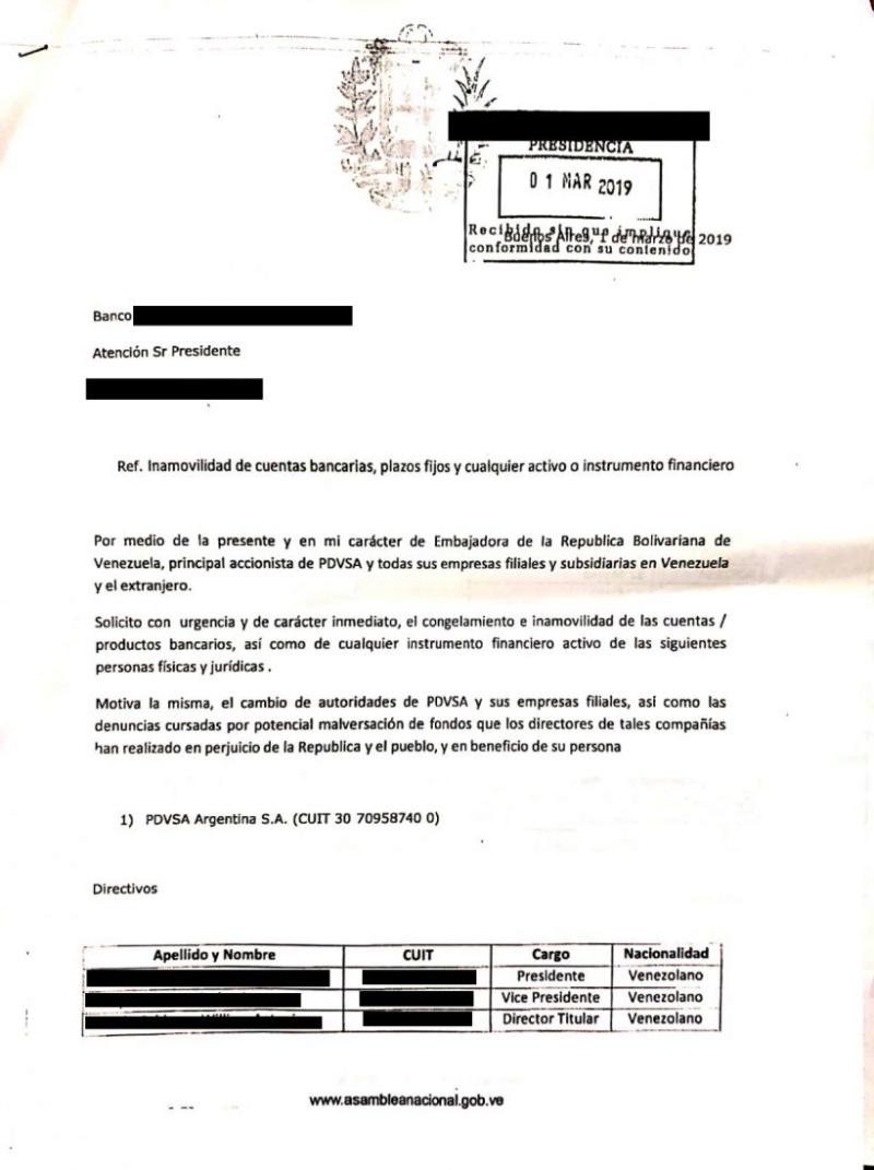 Juan Guaidó pidió a banco de Argentina cerrar cuenta de PDVSA Carta_10