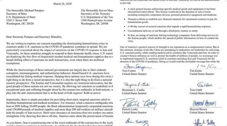 Senadores de EEUU piden suspender sanciones y bloqueos a Venezuela e Irán Cartas12