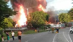 Incendio en la planta de llenado de gas doméstico Apacuana