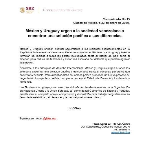 Uruguay y México abogan por encontrar una salida pacífica a la crisis en Venezuela y reconocen a Maduro Dxo4lb10