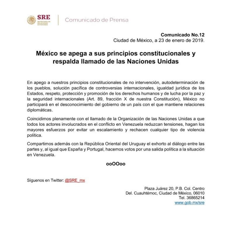 Uruguay y México abogan por encontrar una salida pacífica a la crisis en Venezuela y reconocen a Maduro Dxomzr10