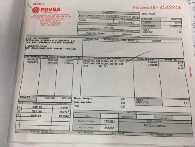 Factura de precio de gandola de gasolina en Venezuela