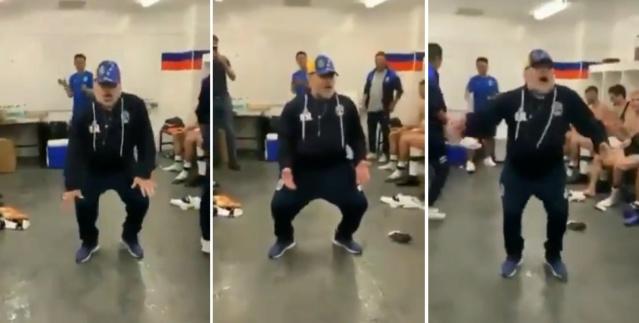 Maradona baila con gorra de Venezuela