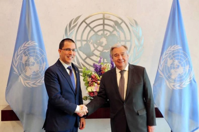 Canciller Arreaza y el Secretario General de la ONU