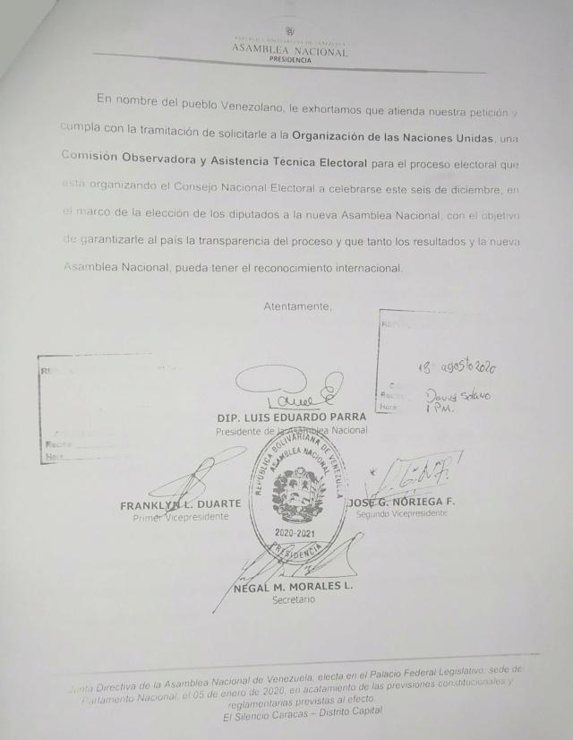 Luis Parra, presidente de la AN, pide a Maduro solicitar asistencia técnica electoral a la ONU Oficio10