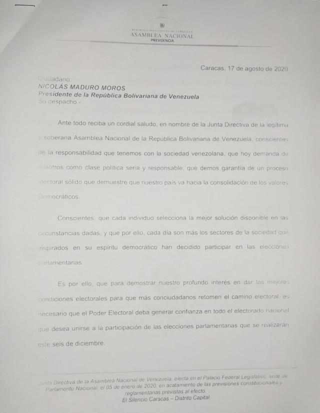 Luis Parra, presidente de la AN, pide a Maduro solicitar asistencia técnica electoral a la ONU Oficio11