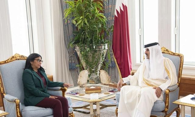 Emir de Qatar recibió la Vicepresidenta de Venezuela, Delcy Rodríguez