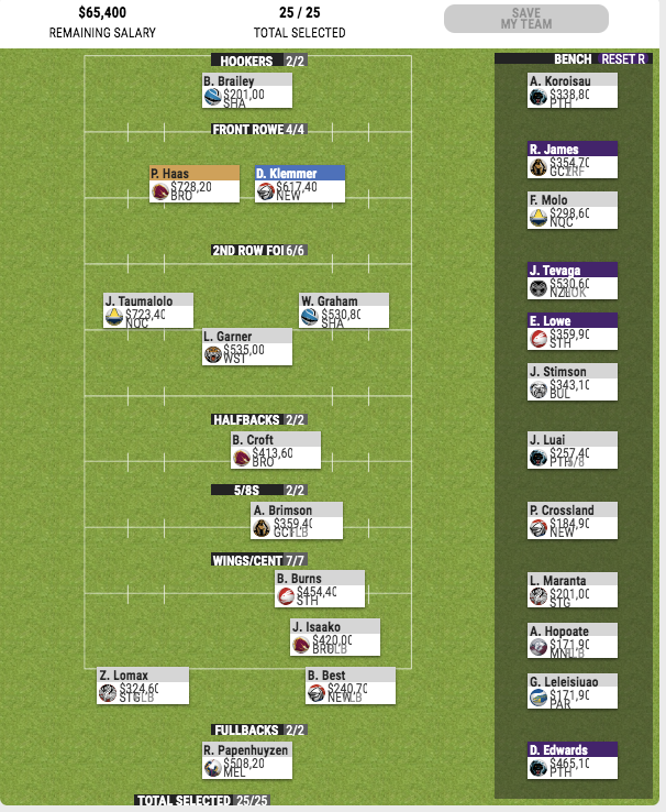 2020 Supercoach Changes & Prices Screen17