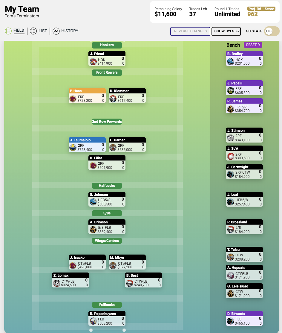 2020 Supercoach Changes & Prices Screen19