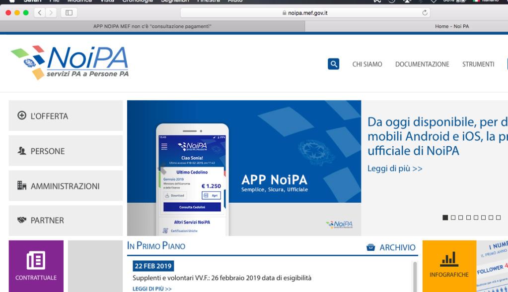 """APP NOIPA MEF  non c'è  """"consultazione pagamenti"""" Scherm10"""