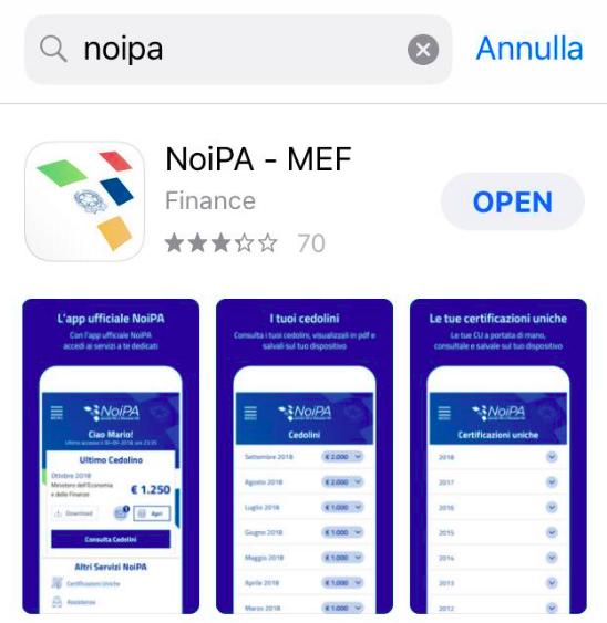 """APP NOIPA MEF  non c'è  """"consultazione pagamenti"""" Scherm11"""