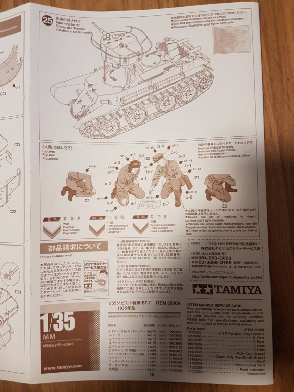 BT7 modele 1935 Tamiya 1/35 20210640