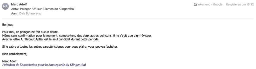 """Sabres napoléoniens avec poinçon """"A"""" Scherm13"""