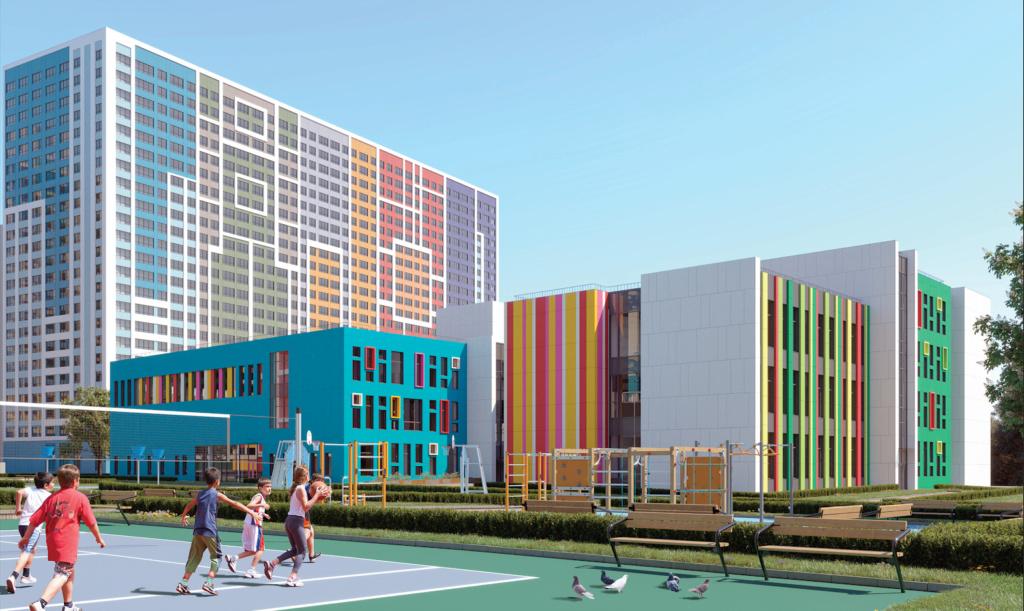 """Волейбольная-баскетбольно-футбольная площадка с беговыми дорожками вокруг и воркаут-тренажёрами - в ЖК """"Крылья"""" School10"""