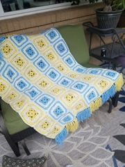 Current baby blanket completed, crochet Cooper10